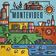 Montevideo on Behance #city #illustration #beach #stroke