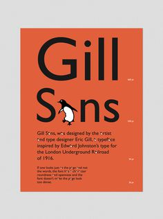 Type Specimen Poster: Gill Sans on Behance #type #specimen #poster