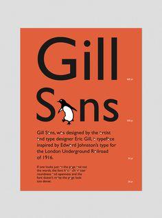 Type Specimen Poster: Gill Sans on Behance