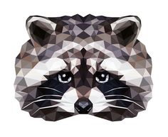RACCOON — Geometric vector animals #vector #raccoon #geometric #illustration #triangle #tranimal