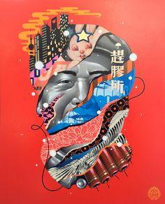 "MAO  16"" x 20""  Spray Paint & Acrylic on Cradled Wood Panel"