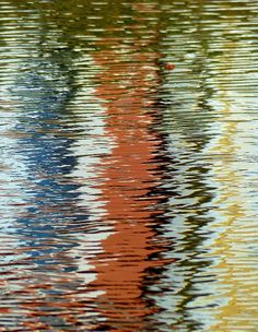 Houses On The Lake Photograph #abstract #ripples #water #wavy #photo #yellow #orange #texture #rust #blue #waves