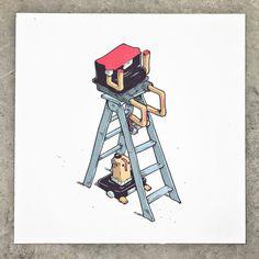 Man cut in half. One half on top of ladder second half on bottom of ladder #cut #wei #t #in #illustration #ladder #half