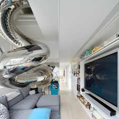 Mirror tube in modern living room #interior #artistic #penthouse #apartment #fun