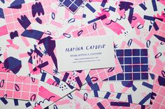 """Personal Business Cards by Marina Cardoso """"Risograph business cards (9x5cm) printed in 2 colors by Selva Press."""" Marina Cardoso is a fre"""