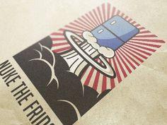 Dribbble - Nuke the Fridge by Carl Goldson #lgo #fridge #nuclear #illustration #vintage