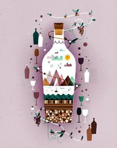 DESCORCHES N71_LO #illustration #mountains #bottle