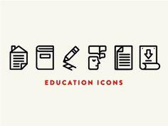 Iconset #line #red #icon #school #cream #black #education