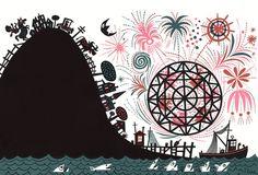 Jim Flora :: Fine Art Print :: Ferris Wheel Fireworks