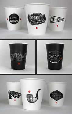 ::: HARDHAT DESIGN / COFFEE SUPREME REBRAND / TAKEOUT CUPS ::: #lettering #packaging #design #coffee #paper #cup #package