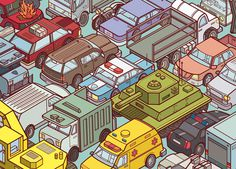 Chaos City on Behance #cars #illustration #isometric