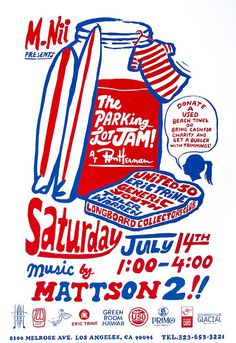 Come to the M.Nii Parking Lot Jam this Saturday at Ron Herman on Melrose! #surfing #type #hand #poster