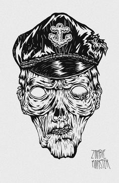 Zombie Monster #creepy #terror #draw #sailor #zombie #ilustration #monster #dead #anchor #pirate