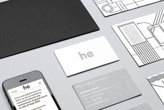 h/e by Atto #brand identity #black and white #stationery