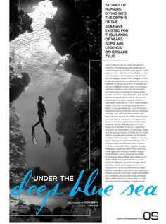 Portfolio / Layout / Single Page Design #design #sea #blue #page design #layout #editorial