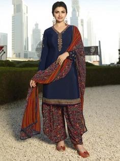 Bollywood Diva Prachi Desai Navy Blue Crepe Wedding Straight Cut Suit Online at Best Price.