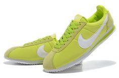 Nike Cortez Classic Nylon Womens Light Green White