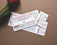 Letterpress Valentine's Day Ticket by DetroitWoodTypeCo on Etsy