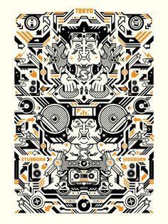 Japanesque Musique poster | STUBBORN SIDEBURN® #print #poster #illustration