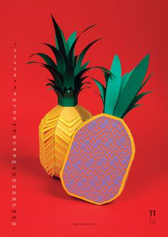 New Flavours: 2014 Calendar by Nearly Normal | Inspiration Grid | Design Inspiration #paper #fruit #tropical