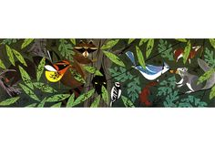 Forest Friends — Charley Harper Prints #tree #charley #bird #harper #animal