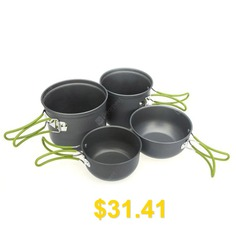 Yougle #4pcs #Outdoor #Camping #Backpacking #Cooking #Picnic #Non-Stick #Aluminum #Cookware #Set #Pot #Bowl