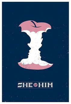 """She & Him"" by Christopher DeLorenzo #negative #design #graphic #space #illustration #poster"