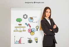 Business woman and board Free Psd. See more inspiration related to Infographic, Mockup, Business, Template, Woman, Girl, Presentation, Board, Mock up, Infographic template, Modern, Business infographic, Business woman, Female, Young, Up, Panel, Clipboard, Businesswoman, Showcase, Stylish, Showroom, Mock, Presenting, Explanation and Showing on Freepik.