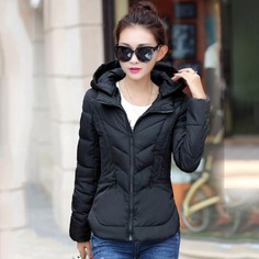 Solid Color Slim Winter Jacket Women Hooded Stand Collar Womens Winter Jackets Female Coat