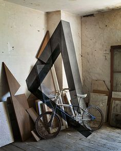 Anamorphosis and portraits by Fanette G. #interior #geometry #bicycle #composition #wall #bike #painting