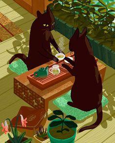 #cats #coffee #tea #plants #illustration