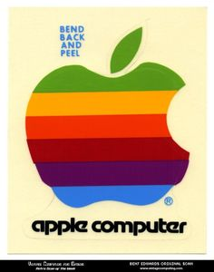 vintage apple computer sticker #computer #apple #bleed #vintage #full #sticker #rainbow