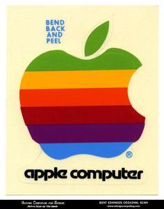 vintage apple computer sticker #computer #apple #bleed #vintage #full #sticker #rainbow