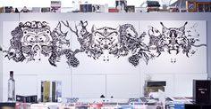 Live drawing by Nastya KFKS, Brooklyn, DUMBO. Zakka corp. NYC #art #exhibition #nastyakfks #kfks #black #animals #awesome #installation #bla