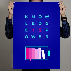 Knowledge is Power on Behance #book #battery #knowledge #minimal #poster #typography