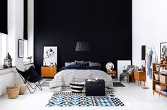(2) Likes | Tumblr #interior design #bedroom #black