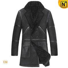 Black Sheepskin Coat for Men CW877010
