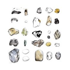 Lítill Blóm #neumann #handdrawn #stones #illustration #aquarell #art #miuminou #ini #bleistift