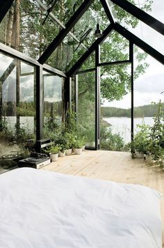 CJWHO ™ (Garden Shed by Ville Hara and Linda Bergroth ...) #design #interiors #glass #nature #architecture #bed #view #room
