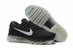 Knitting line all palm nano drop plastic technology Men's Air Max 2017 Sports Shoes Black grey
