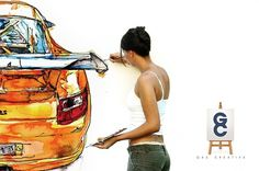 Gas Creative Advertising #creative #girl #gas #brush #artist #porsche