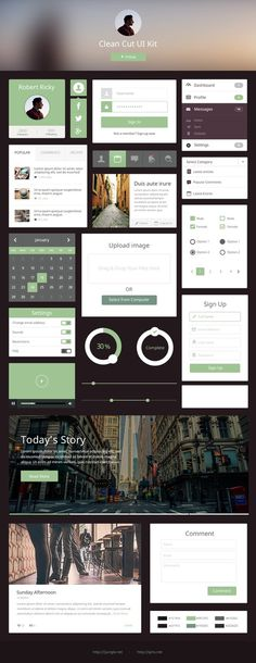 Clean Cut UI Kit #design #ui