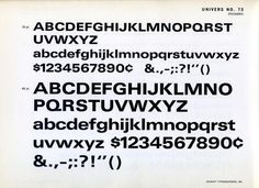 Univers 73 type specimen