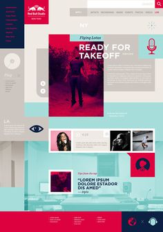 Red Bull Studios on Behance #squares #red #website #blue #bull