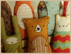 Kirikí Press {Embroidery Kits, Screen Prints, Handcrafted Goods} #toys #cat #embroidery #bear #rabbit