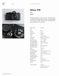 Nikon FM spec sheet #spec #35mm #camera #clean #photography #data #minimal #sheet #nikon