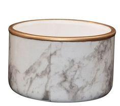 Marble Look Ceramic Dish With Gold Rim 10cm x 6cm