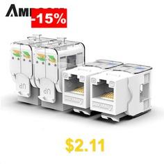 AMPCOM #Pro #CAT5e #Tool-Less #Keystone #Jack #Self #Locking #No #Punch #Down #RJ45 #Module #Adapter