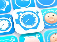 HoursTracker iOS App Icon by http://ramotion.com #flat #8 #icon #design #appstore #icons #application #iphone #ios