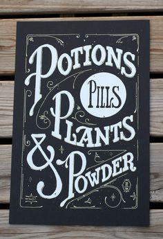 Potions Print #handdrawn #poster #typography